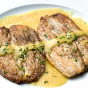 Pan-fried plaice fillets with mustard sauce